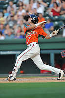 Third baseman Aaron Blanton (11) of the Greensboro Grasshoppers bats in a game against the Greenville Drive on Thursday, July 14, 2016, at Fluor Field at the West End in Greenville, South Carolina. (Tom Priddy/Four Seam Images)