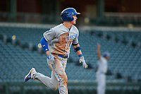 AZL Royals Bobby Witt, Jr. (17) runs to first base after getting his first professional base hit during his professional debut in an Arizona League game against the AZL Cubs 1 on June 30, 2019 at Sloan Park in Mesa, Arizona. AZL Royals defeated the AZL Cubs 1 9-5. (Zachary Lucy / Four Seam Images)