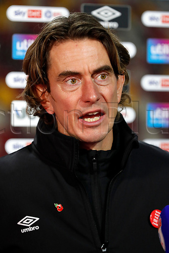 7th November 2020; Brentford Community Stadium, London, England; English Football League Championship Football, Brentford FC versus Middlesbrough; Brentford Manager Thomas Frank answering questions from the press after full time