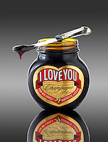 "Jar of traditional Marmite with ""I Love You"" on label"