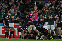 Referee Pascal Gauzere awards a try during the Rugby World Cup 2015 rugby union match between South Africa and USA at The Olympic Stadium, England on 7 October 2015. No unauthorized download. Photo: Dean Woodgate / rainywoodphotography.co.uk