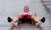 4th October 2020, London, England; 2020 London Marathon; Peter Herzog (AUT) lies on The Mall after finishing the Elite Men's Race. The historic elite-only Virgin Money London Marathon taking place on a closed-loop circuit around St James's Park in central London on Sunday 4 October 2020.