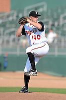 Lansing Lugnuts pitcher Arik Sikula (40) during a game against the Dayton Dragons on August 25, 2013 at Cooley Law School Stadium in Lansing, Michigan.  Dayton defeated Lansing 5-4 in 11 innings.  (Mike Janes/Four Seam Images)