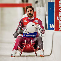 4 December 2015: Tristan Walker and Justin Snith, sliding for Canada, cross the finish line after their second run, finishing 14th for the day with a combined time of 1:29.104 in the Doubles Competition of the Viessmann Luge World Cup at the Olympic Sports Track in Lake Placid, New York, USA. Mandatory Credit: Ed Wolfstein Photo *** RAW (NEF) Image File Available ***