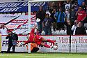 Jose Baxter of Oldham's penalty beats Chris Day of Stevenage for the winning goal<br />  Stevenage v Oldham Athletic - Sky Bet League 1 - Lamex Stadium, Stevenage - 3rd August, 2013<br />  © Kevin Coleman 2013