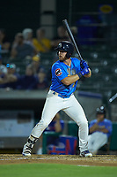 Luke Reynolds (34) of the Myrtle Beach Pelicans at bat against the Winston-Salem Dash at TicketReturn.com Field on May 16, 2019 in Myrtle Beach, South Carolina. The Dash defeated the Pelicans 6-0. (Brian Westerholt/Four Seam Images)