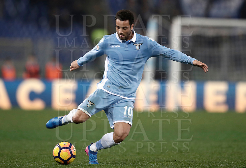 Calcio, Serie A: Lazio, Stadio Olimpico, 13 febbraio 2017.<br /> Lazio's Felipe Anderson in action during the Italian Serie A football match between Lazio and Milan at Roma's Olympic Stadium, on February 13, 2017.<br /> UPDATE IMAGES PRESS/Isabella Bonotto