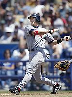 Nomar Garciaparra of the Boston Red Sox bats during a 2002 MLB season game against the Los Angeles Dodgers at Dodger Stadium, in Los Angeles, California. (Larry Goren/Four Seam Images)