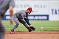 Lehigh Valley IronPigs shortstop Dean Anna (8) fields a ground ball during a game against the Syracuse Chiefs on May 20, 2018 at NBT Bank Stadium in Syracuse, New York.  Lehigh Valley defeated Syracuse 5-2.  (Mike Janes/Four Seam Images)