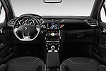 Stock photo of straight dashboard view of 2016 Ds DS3 So-Chic 3 Door hatchback Dashboard