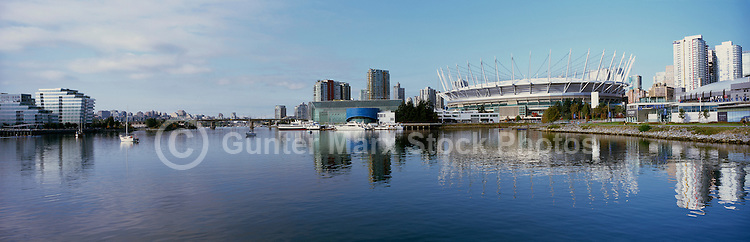 Vancouver, BC, British Columbia, Canada - Downtown City Skyline at False Creek with BC Place Stadium (New Retractable Roof completed in 2011) - Panoramic View