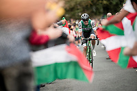 Cristián Rodríguez (ESP/Caja Rural - Seguros RGA) up the brutal (last climb) Alto de Arraiz (up to 25% gradients!), 7km from the finish <br /> <br /> Stage 12: Circuito de Navarra to Bilbao (171km)<br /> La Vuelta 2019<br /> <br /> ©kramon