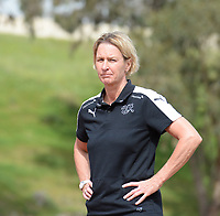20180305 - LARNACA , CYPRUS : Swiss head coach Martina Voss-Tecklenburg pictured during a women's soccer game between Switzerland and Wales , on monday 5 March 2018 at GSZ Stadium in Larnaca , Cyprus . This is the third game in group A for Switzerland and Wales during the Cyprus Womens Cup , a prestigious women soccer tournament as a preparation on the World Cup 2019 qualification duels. PHOTO SPORTPIX.BE | DAVID CATRY