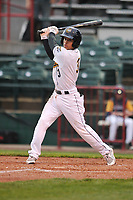 Burlington Bees second baseman Leonardo Rivas (3) swings at pitch against the Dayton Dragons at Community Field on May 2, 2018 in Burlington, Iowa.  (Dennis Hubbard/Four Seam Images)