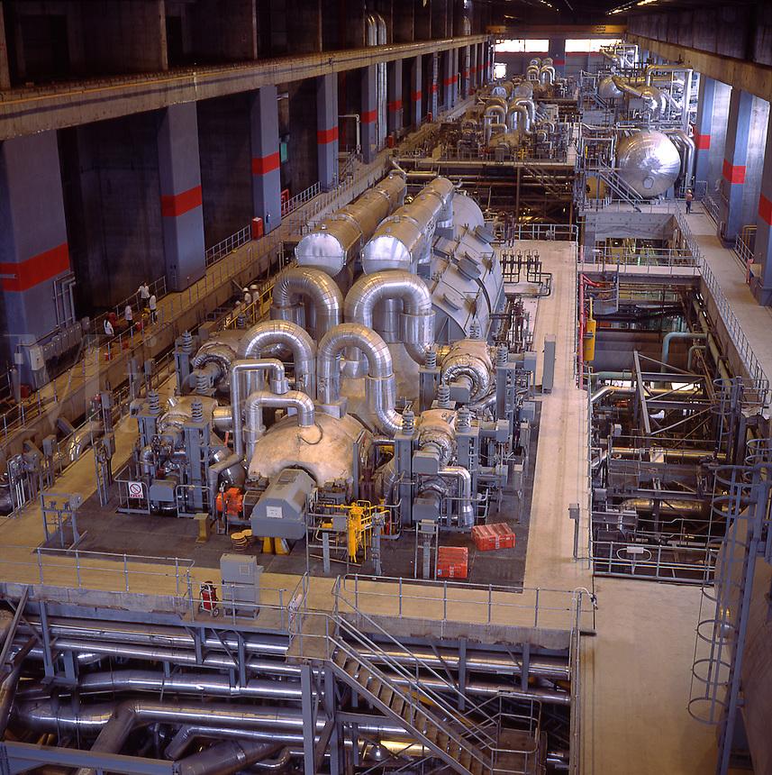 Large turbine generators in coal fired power station, 650 MW. Guangzhou, China..
