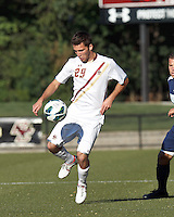 Boston College midfielder Brendan Hayes (29) controls the ball. Boston College defeated University of Rhode Island, 4-2, at Newton Campus Field, September 25, 2012.