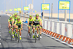 The Farnese Vini-Selle Italia team warm up before the 2nd Stage of the 2012 Tour of Qatar a team tme trial at Lusail Circuit, Doha, Qatar, 6th February 2012 (Photo Eoin Clarke/Newsfile)
