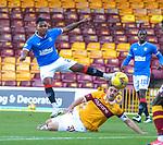 27.09.2020 Motherwell v Rangers:  Alfredo Morelos has a shot blocked by Declan Gallagher
