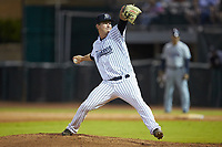 Pulaski Yankees relief pitcher Bryan Blanton (22) in action against the Princeton Rays at Calfee Park on July 14, 2018 in Pulaski, Virginia. The Rays defeated the Yankees 13-1.  (Brian Westerholt/Four Seam Images)