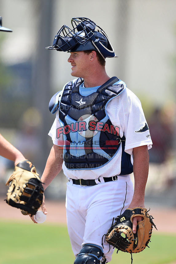 GCL Rays catcher Zach Marberry (34) during a game against the GCL Red Sox on June 24, 2014 at Charlotte Sports Park in Port Charlotte, Florida.  GCL Red Sox defeated the GCL Rays 5-3.  (Mike Janes/Four Seam Images)