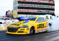 Aug 29, 2014; Clermont, IN, USA; NHRA pro stock driver Jeg Coughlin Jr does a burnout during qualifying for the US Nationals at Lucas Oil Raceway. Mandatory Credit: Mark J. Rebilas-USA TODAY Sports