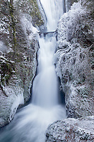 Bridal Veil Falls with ice. Columbia River Gorge National Scenic Area. Oregon