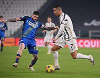 3rd January 2021, Allianz Stadium, Turin Piedmont, Italy; Serie A Football, Juventus versus Udinese; Cristiano Ronaldo of Juventus takes on Rodrigo De Paul of Udinese