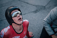 Maximilian Kabas (AUT)<br /> <br /> post-race battlefield in the finish zone<br /> <br /> MEN JUNIOR INDIVIDUAL TIME TRIAL<br /> Hall-Wattens to Innsbruck: 27.8 km<br /> <br /> UCI 2018 Road World Championships<br /> Innsbruck - Tirol / Austria