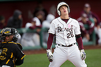 Tate Matheny #26 of the Missouri State Bears reacts to a called third strike during a game against the Wichita State Shockers at Hammons Field on May 4, 2013 in Springfield, Missouri. (David Welker/Four Seam Images)