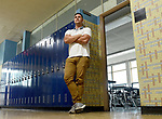 (09/18/17 Springfield MA)  Math teacher Evan Christensen in front of his classroom at John J. Duggan Academy, Monday, Sept. 18, 2017, in Springfield. Herald Photo by Jim Michaud