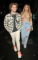 Joe Garratt and Belle Hassan at the boohooMan Love Island Party, boohoo, Great Portland Street, on Thursday 07th October 2021, in London, England, UK. <br /> CAP/CAN<br /> ©CAN/Capital Pictures