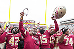 Florida State interim head coach Odell Haggins celebrates his teams 49-12 victory over Alabama State after an NCAA college football game in Tallahassee, Fla., Saturday, Nov. 16, 2019.  (AP Photo/Mark Wallheiser)