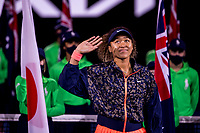 20th February 2021, Melbourne, Victoria, Australia; Naomi Osaka of Japan waves to the crowd prior to receiving her trophy after winning the Women's Singles Final of the 2021 Australian Open on February 20 2021, at Melbourne Park in Melbourne, Australia.