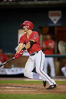 Harrisburg Senators third baseman Jake Noll (13) hits a single during a game against the Akron RubberDucks on August 18, 2018 at FNB Field in Harrisburg, Pennsylvania.  Akron defeated Harrisburg 5-1.  (Mike Janes/Four Seam Images)