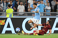 26th September 2021;  Stadio Olimpico, Rome, Italy; Italian Serie A football, SS Lazio versus AS Roma; Felipe Anderson of SS Lazio tackled by Bryan Cristante of AS Roma