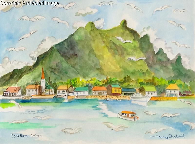 Bora Bora Vaitape<br /> 9x12 Watercolor on Paper<br /> $1,750