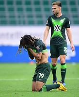 23rd May 2020, Volkswagen Arena, Wolfsburg, Lower Saxony, Germany; Bundesliga football,VfL Wolfsburg versus Borussia Dortmund; Kevin Mbabu and Marin Pongracic (Wolfsburg) frustrated at the play