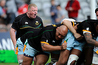 Dorian West, Northampton Saints 1st XV Coach, encourages the forwards as they warm up before the Aviva Premiership match between Harlequins and Northampton Saints at the Twickenham Stoop on Saturday 4th May 2013 (Photo by Rob Munro)
