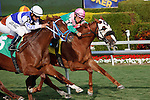 """2 year old """"Other Than Allowance race"""" winner Sandy Key Gal in the holding a challenge in the 8th Race Gulfstream Park.Jockey Paco Lopez, trainer Ed Plesa Jr. Hallandale Beach Florida. December 18 2011"""