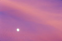 Sunset with moon, Lubbock, Texas.