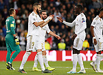 Real Madrid CF's Karim Benzema celebrates after scoring a goal during UEFA Champions League match, groups between Real Madrid and Galatasaray SK at Santiago Bernabeu Stadium in Madrid, Spain. November, Wednesday 06, 2019.(ALTERPHOTOS/Manu R.B.)