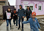 Following worship, children and youth leave the United Methodist Roma congregation in Jabuka, Serbia..