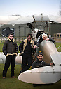 """13/03/15<br /> <br /> L/R: Tim Cox (Deputy Chief Flight Instructor), Will Flanagan (Chief Flight Instructor), Colin Temple-Smith (Engineer) and Kerry Flanagan (experience Manager).<br /> <br /> ***FULL STORY HERE:   http://www.fstoppress.com/articles/tiger-moth-restorations/    ****<br /> <br /> You may remember spending hours toiling over Airfix models, painstakingly following intricate instructions and trying not to glue your fingers together before painting your own miniature version of one of the RAF's or Luftwaffe's finest aircraft. Then spare a thought for one man who has just helped to restore and put together one World War Two Tiger Moth and is about to start piecing together another FOUR aircraft that were discovered in bits in a barn.<br /> <br /> Sixty-year-old Colin Temple-Smith – who wears a moustache that any Wing Commander would be proud of – has spent a lifetime restoring vintage cars and motorcycles and recently quit his job as a window fitter to help re-build the five bi-planes that will become part of a growing fleet of Tiger Moths at Derbyshire based Blue Eye Aviation.<br /> <br /> Today saw the first of the fully-restored five aircraft take to the skies.<br /> <br /> """"It's just like working on old bikes and cars, although they're a lot more fragile"""" explained Colin, whose wife runs the Aviators Café at Darley Moor Airfield near Ashbourne.<br /> <br /> """"When I was a teenager I used to be a member of a modelling club, making flying models from wood and canvas. They're very similar to build – it's really just the size that's changed with these.<br /> <br /> All Rights Reserved: F Stop Press Ltd. +44(0)1335 418629   www.fstoppress.com."""