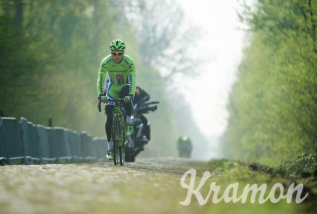 Peter Sagan (SVK/Cannondale) through sector 18: Pavé de la Trouée d'Arenberg<br /> <br /> 2014 Paris-Roubaix reconnaissance