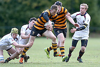 RBAI vs R S ARMAGH | Saturday 21st February 2015<br /> <br /> Ethan Harbinson gets away from Grant Hutchinson during 2015 Ulster Schools Cup Quarter-Final between RBAI and Royal School Armagh at Osborne Park, Belfast, Northern Ireland.<br /> <br /> Picture credit: John Dickson / DICKSONDIGITAL