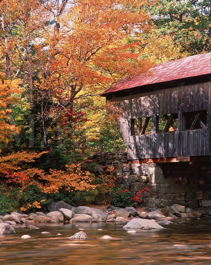 Profile view of the Albany covered bridge in the White Mountain National Forest. It spans a shallow river and is framed by fall foliage. New Hampshire.