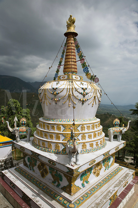 A TIBETAN STUPA on the grounds of the TSUGLAGKHANG COMPLEX which is the DALAI LAMA'S residence in exile in MCLEOD GANG - DHARAMSALA, INDIA