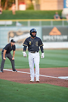 Luis Rengifo (2) of the Salt Lake Bees takes a lead from third base during the game against the Reno Aces at Smith's Ballpark on August 24, 2021 in Salt Lake City, Utah. The Aces defeated the Bees 6-5. (Stephen Smith/Four Seam Images)