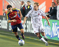 Fabian Espindola #9 of Real Salt Lake & Bryan Namoff #26 of DC United in the DC United @ Real Salt Lake 0-4 Real Salt Lake victory at Rice-Eccles Stadium in Salt Lake City, Utah on April 12, 2008