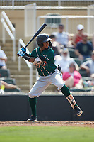 Lolo Sanchez (26) of the Greensboro Grasshoppers at bat against the Piedmont Boll Weevils at Kannapolis Intimidators Stadium on June 16, 2019 in Kannapolis, North Carolina. The Grasshoppers defeated the Boll Weevils 5-2. (Brian Westerholt/Four Seam Images)